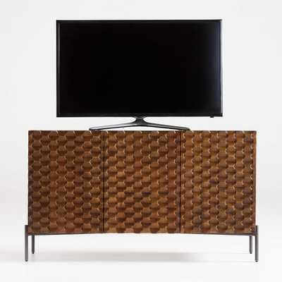 raffael-small-carved-wood-media-console - CB2