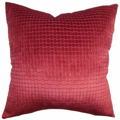 Earleen Solid Pillow Red - 18 x 18 - with Insert - Linen & Seam