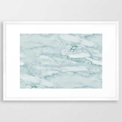 """Marble Pale Teal Sea Green Marble Framed Art Print, Vector White 26"""" x 38"""" - Society6"""