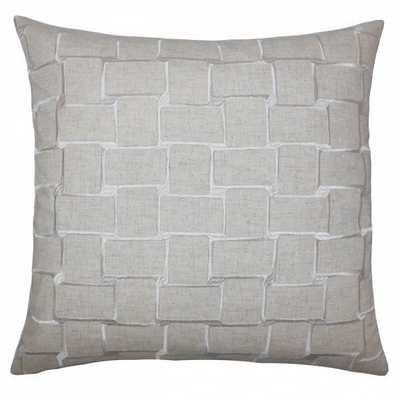 Haig Geometric Pillow Natural- 22x22 with down insert - Linen & Seam