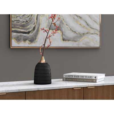 Helme Black/Gold Indoor/Outdoor Metal Table Vase - Wayfair