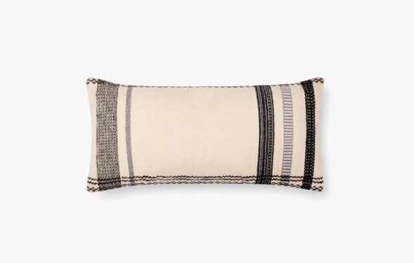 """P1088 MH IVORY / BLACK, 12"""" x 27"""" Pillow Cover - Loma Threads"""