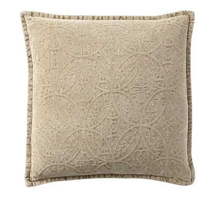 "Chenille Jacquard Pillow Cover, 20""x20"", Honey - Pottery Barn"