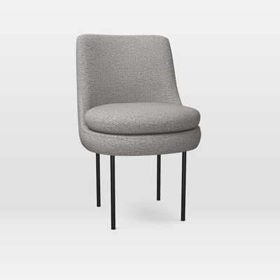 Modern Curved Dining Chair, Heathered Crosshatch, Feather Gray - West Elm