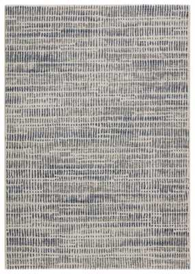 "Escape Abstract Blue/ White Area Rug (5'3"" X 7'6"") - Collective Weavers"