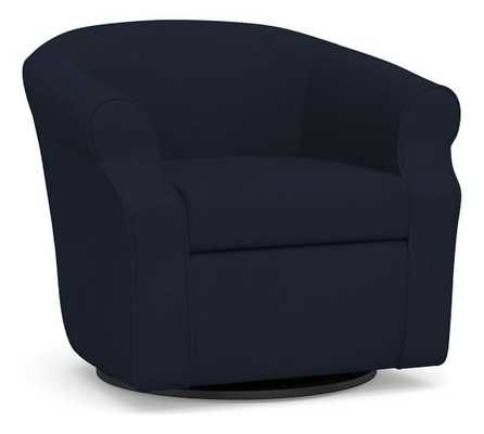 SoMa Lyndon Upholstered Swivel Armchair, Polyester Wrapped Cushions, Twill Cadet Navy - Pottery Barn