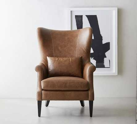 Champlain Wingback Leather Armchair, Polyester Wrapped Cushions, Statesville Molasses - Pottery Barn