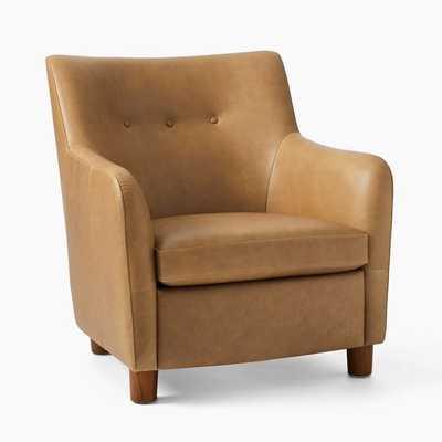Teddy Chair, Poly, Ludlow Leather, Sesame, Dark Walnut - West Elm