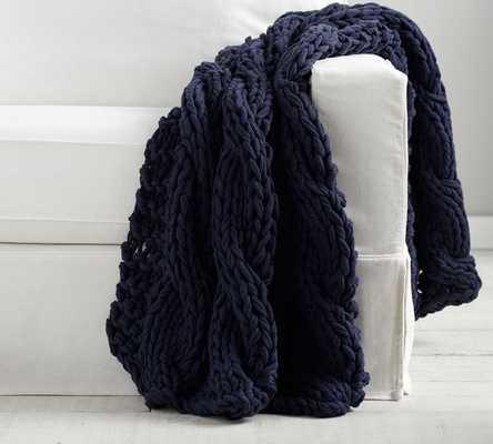"Colossal Handknit Throw, 44 x 56"", Navy - Pottery Barn"