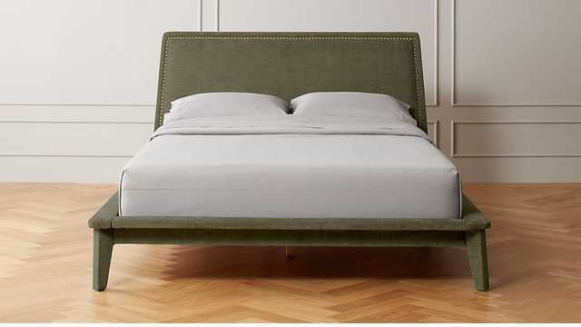 ATRIA UPHOLSTERED NAILHEAD BED GREY - CB2