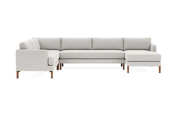 WINSLOW Corner Sectional with Right Chaise, Pebble Heathered Weave, Oiled Walnut Tall Curved Wood Leg - Interior Define