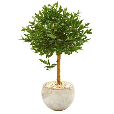 """38"""" Olive Topiary Artificial Tree in Bowl Planter 