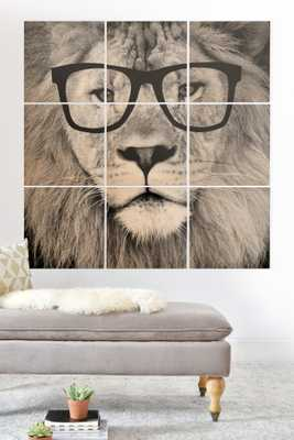 """Hippest Lion Wood Wall Mural - 3' x 3' (Nine 12"""" Wood Squares) - Wander Print Co."""