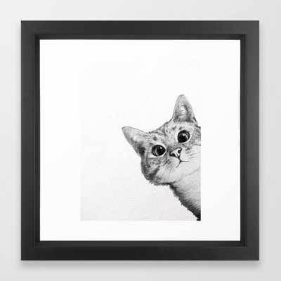 sneaky cat Framed Art Print - Society6