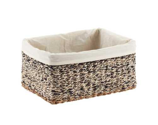 Small Napa Woven Storage Bin Black - containerstore.com