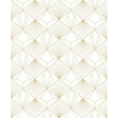 GRAHAM & BROWN Kabuki Diamond White and Gold Removable Wallpaper, White/Gold - Home Depot