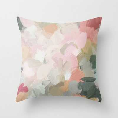 Forest Green Fuchsia Blush Pink Abstract Flower Spring Painting Art Throw Pillow - Society6