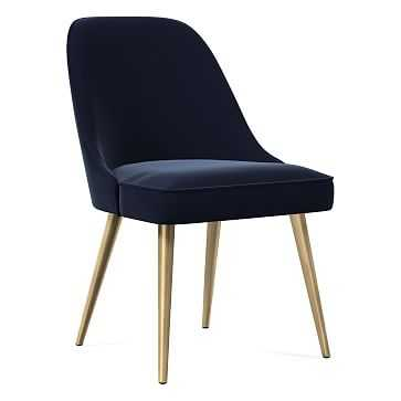 Mid-Century Dining Chair, Metal Leg, Distressed Velvet, Ink Blue, Blackened Brass - West Elm