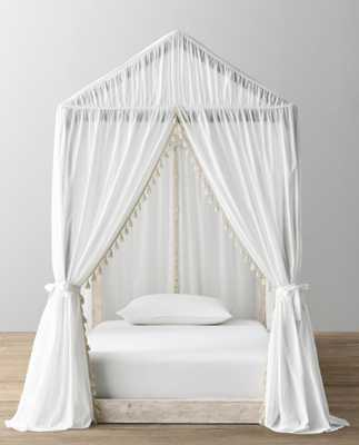 COLE HOUSE PLATFORM BED & TASSEL VOILE CANOPY - NATURAL - WEATHERED WHITE - FULL - RH Baby & Child