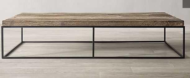 Rigby Reclaimed Rustic Oak Rectangular Coffee Table - RH
