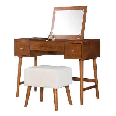 Makayla Vanity Set with Stool and Mirror - Wayfair