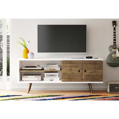 Osgood TV Stand for TVs up to 60 inches, White and Rustic Brown - AllModern