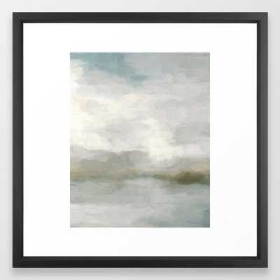 Modern Abstract Painting, Light Teal, Sage Green, Gray Cloudy Weather Digital Prints Wall Art, Ocean Framed Art Print - Society6