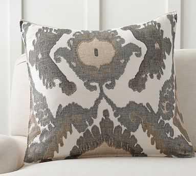 "Hudson Ikat Pillow Cover, 24"", Neutral - Pottery Barn"