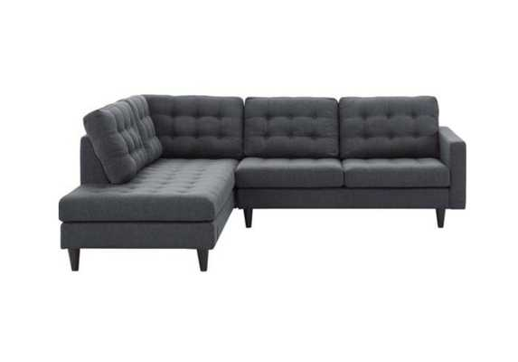 EMPRESS 2 PIECE UPHOLSTERED FABRIC LEFT FACING BUMPER SECTIONAL IN GRAY - Modway Furniture
