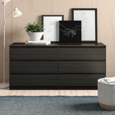 Kepner 6 Drawer Double Dresser - Black Woodgrain - Wayfair