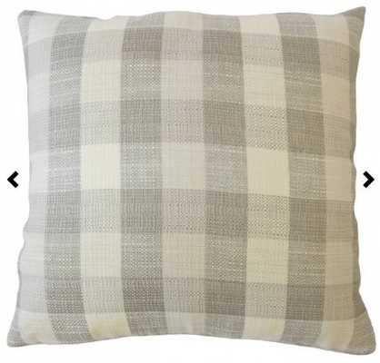 Baldric Plaid Pillow Dove 20x20 with insert - Linen & Seam
