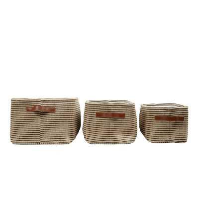 3 Piece Fabric Storage Basket Set - Wayfair