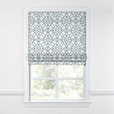 "CUSTOM-Turquoise Trellis Floral Roman Shade Flat - Inside Mount, 57.75"""" x 58"" Privacy Lining - Loom Decor"