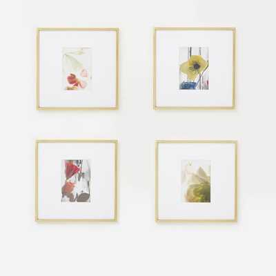 """Gallery Frame, Polished Brass, Set of 4, 5"""" x 7"""" (12"""" x 12"""" without mat) - West Elm"""