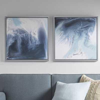 'Lagoon 2 Gel Coat' 2 Piece Framed Graphic Art Print Set on Wood in Blue - Wayfair