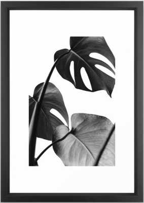 Tropical leaves monochrome Framed Art Print - Society6