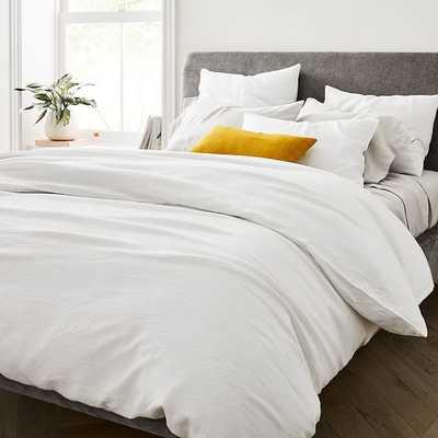 Belgian Flax Linen Duvet & Standard Sham, White, Full/Queen - West Elm