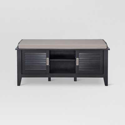 Storage Bench with Slatted Doors Wood - Black - Target