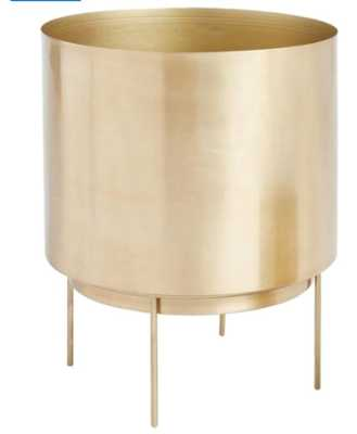 Brushed Gold Planter With Stand - Floor Planter - World Market/Cost Plus