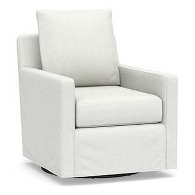 Ayden Slipcovered Swivel Glider, Polyester Wrapped Cushions, Basketweave Slub Ivory - Pottery Barn