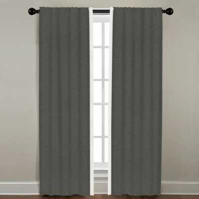 "Linen Border Drapery Single Panel, Quarry with Oyster, 96"" - Havenly Essentials"