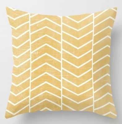 Yellow Chevron Pillow - 18x18 With Insert - Society6