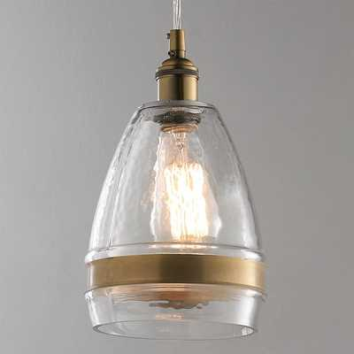 BANDED BRASS WATER GLASS CONE PENDANT - Shades of Light