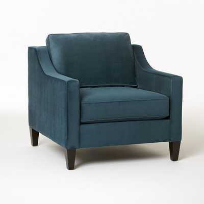 Paidge Chair, Down Blend, Performance Velvet, Lagoon, Taper Chocolate Legs - West Elm
