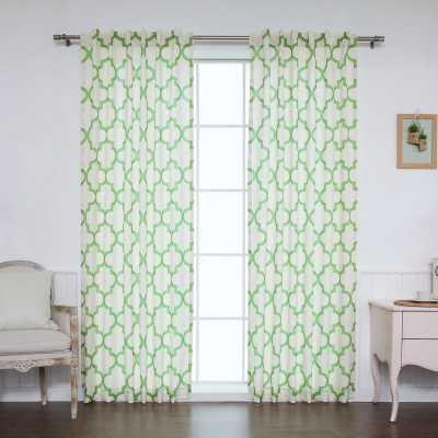 "Moroccan Geometric Sheer Rod Pocket Curtain Panels - pair of 96"" L x 52"" W - Green - Wayfair"
