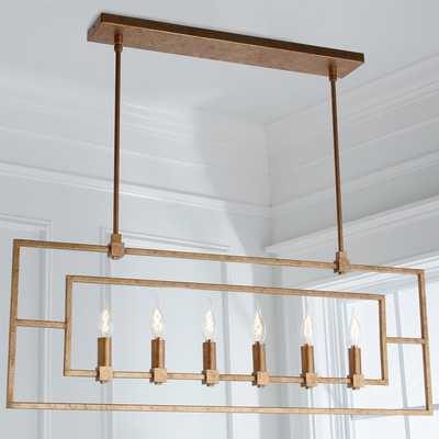 Geometric Double Frame Linear Chandelier - 6 Light - Antique Gold - Shades of Light
