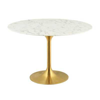 "LIPPA 28"" ROUND DINING TABLE IN GOLD WHITE - Modway Furniture"