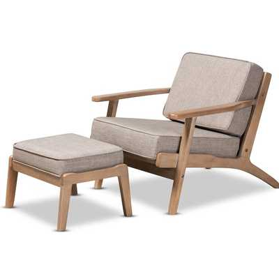 Padron Mid-Century Modern Light Grey Fabric Upholstered Antique Oak Finished 2-Piece Wood Armchair And Ottoman Set - Wayfair