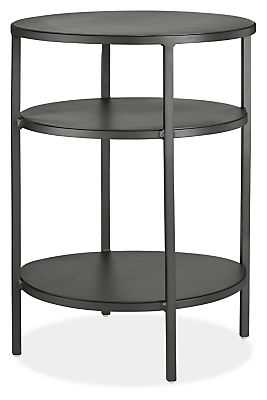 """Slim Round End Tables in Natural Steel, 15""""D x 20""""H, With Shelves - Room & Board"""