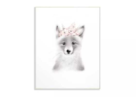 """12.5""""x0.5""""x18.5"""" Sketched Fluffy Fox Flowers Oversized Wall Plaque Art - Stupell Industries - Target"""